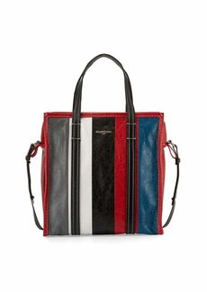 Balenciaga Bazar Shopper Small Striped Leather Shopper Tote Bag