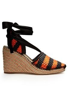 Balenciaga Bazar striped raffia-effect wedge espadrilles