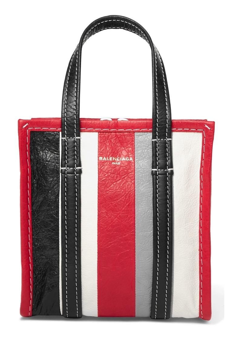 Balenciaga Bazar Xxs Striped Textured-leather Tote