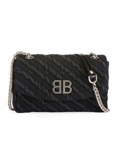 Balenciaga BB Chain Destroyed Denim Crossbody Bag