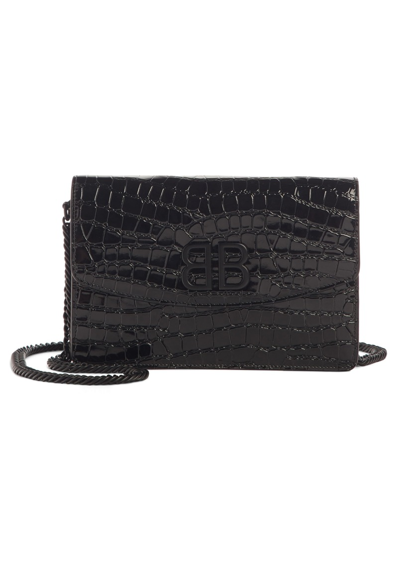 Balenciaga BB Croc Embossed Leather Wallet on a Chain