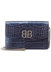 Balenciaga Bb Croc-Embossed Patent Wallet On Chain