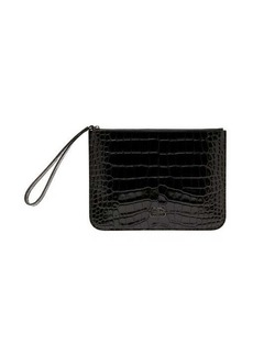 Balenciaga BB crocodile-effect leather pouch