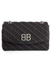 Balenciaga BB Destroyed Denim Wallet on a Chain