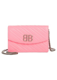 Balenciaga BB Embossed Leather Wallet on a Chain