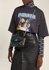 Balenciaga BB graffiti leather cross-body bag