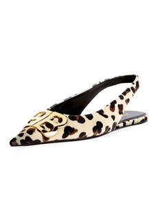Balenciaga BB Knife Leopard Velvet Slingback Flat