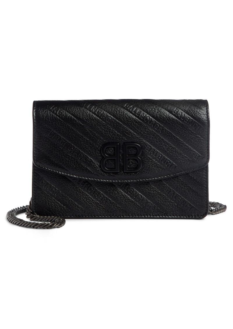 Balenciaga BB Leather Wallet on a Chain