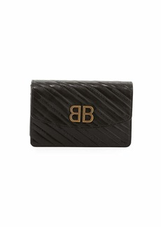 Balenciaga BB Logo-Embossed Grain Leather Wallet On Chain