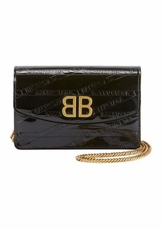Balenciaga BB Logo-Embossed Patent Wallet On Chain - Golden Hardware