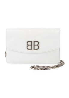 Balenciaga BB Logo-Embossed Patent Wallet On Chain - Silvertone Hardware