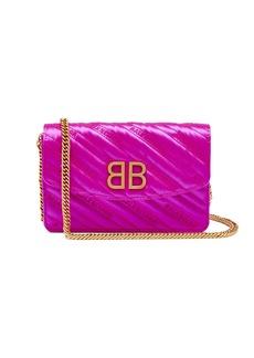 Balenciaga BB logo-embroidered satin clutch bag