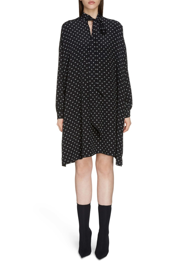 Balenciaga BB Logo Pattern Long Sleeve Silk Dress