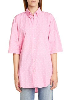Balenciaga BB Logo Print Oversize Cotton Poplin Shirt