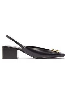 Balenciaga BB-logo square-toe leather slingback pumps