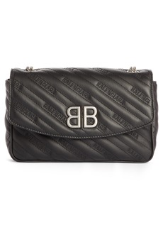 Balenciaga BB Matelassé Quilted Wallet on a Chain