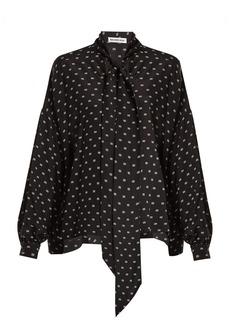 Balenciaga BB-print tie-neck silk blouse