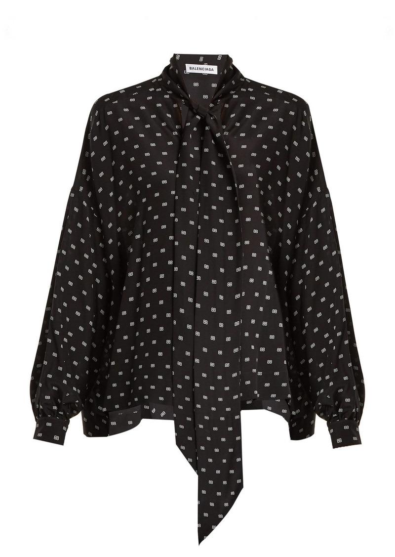 5045263fdf4ef Balenciaga Balenciaga BB-print tie-neck silk blouse