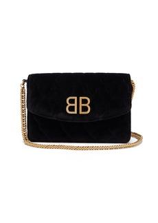 Balenciaga BB quilted velvet clutch