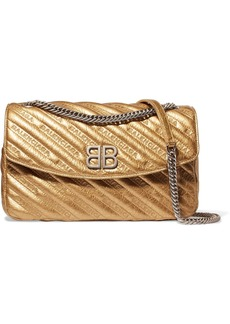 Balenciaga BB Round embroidered quilted metallic textured-leather shoulder bag