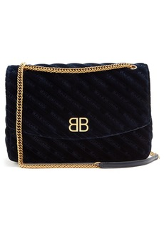 Balenciaga BB Round L velvet bag