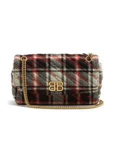 Balenciaga BB Round plaid bag