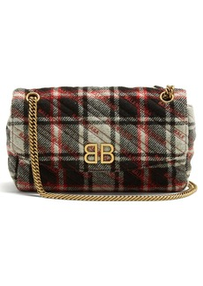 Balenciaga BB Round plaid bag