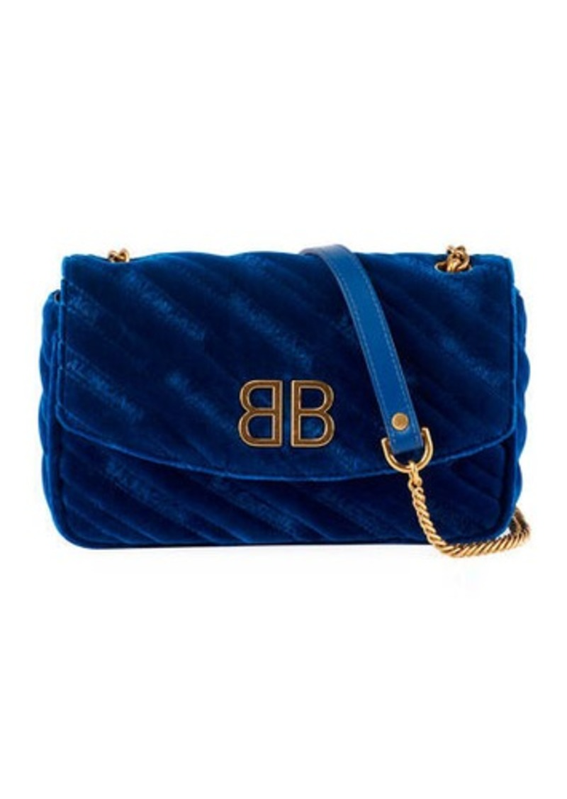 Balenciaga BB Velvet Wallet on a Chain - Golden Hardware
