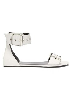 Balenciaga Belt buckle flat leather sandals