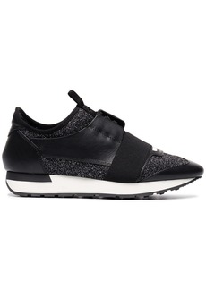 Balenciaga black glitter race runner sneakers