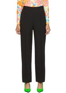 Balenciaga Black Wool Front Pleat Trousers