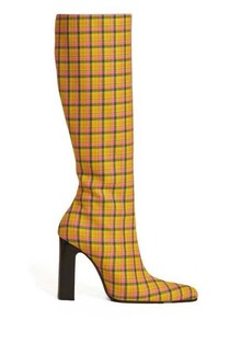 Balenciaga Block-heel checked-wool boots