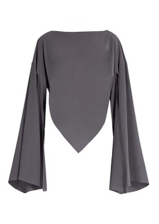 Balenciaga Boat-neck triangular-hem silk blouse