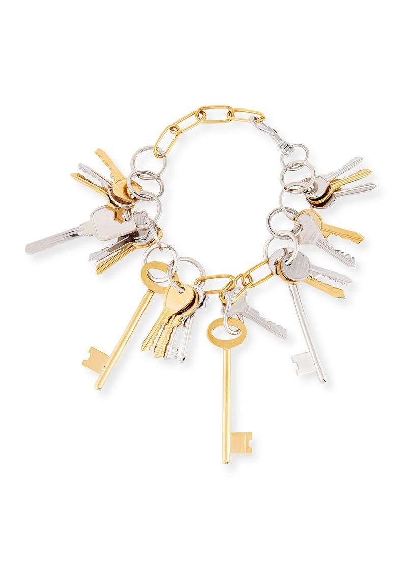 Balenciaga Brass Key Lock Necklace