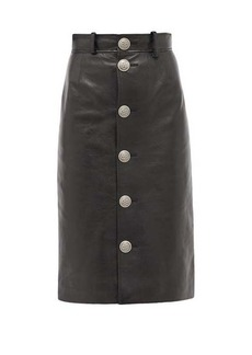 Balenciaga Button-front grained-leather midi skirt