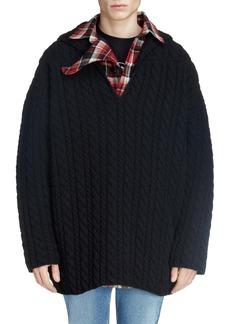 Balenciaga Cabled V-Neck Wool Sweater