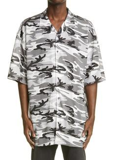 Balenciaga Camo Print Short Sleeve Mesh Button-Up Shirt