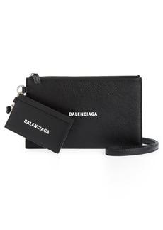 Balenciaga Cash Logo Leather Pouch & Card Case