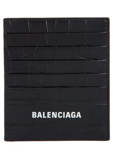 Balenciaga Cash Logo Vertical Croc Embossed Leather Card Holder