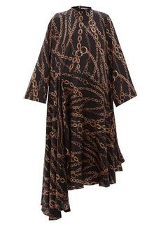 Balenciaga Chain print logo silk-jacquard dress
