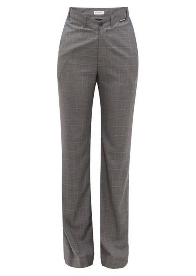 Balenciaga Checked high-rise wool-blend trousers