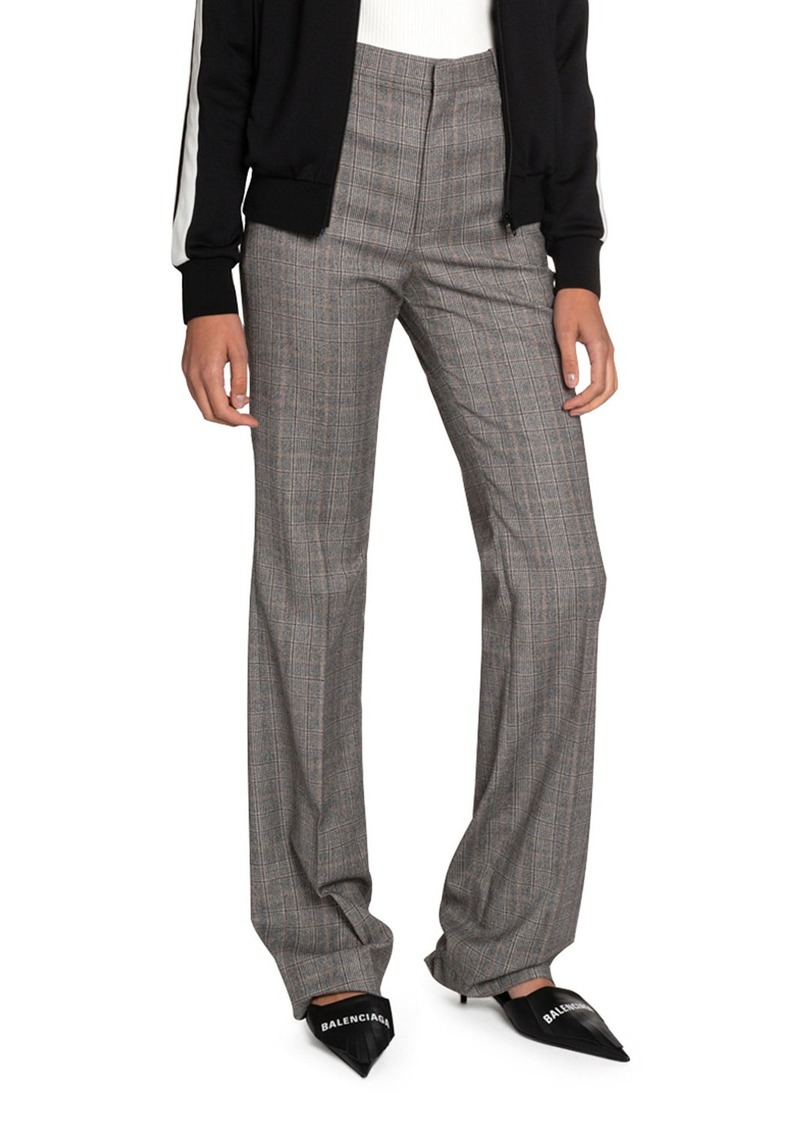 Balenciaga Checked Wool High-Rise Pants