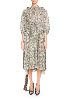 Balenciaga Cinched Kaftan Dress with Cash and Leopard-Print