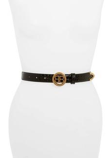 Balenciaga Circled BB Croc Embossed Leather Belt