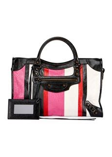 Balenciaga Classic City AJ Striped Leather Satchel Bag