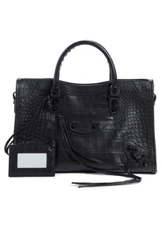 Balenciaga Classic City Croc Embossed Leather Tote