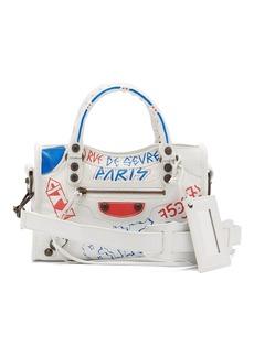 Balenciaga Classic City mini graffiti-printed leather bag