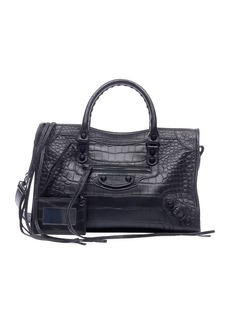 Balenciaga Classic City Small Matte Croc Satchel Bag