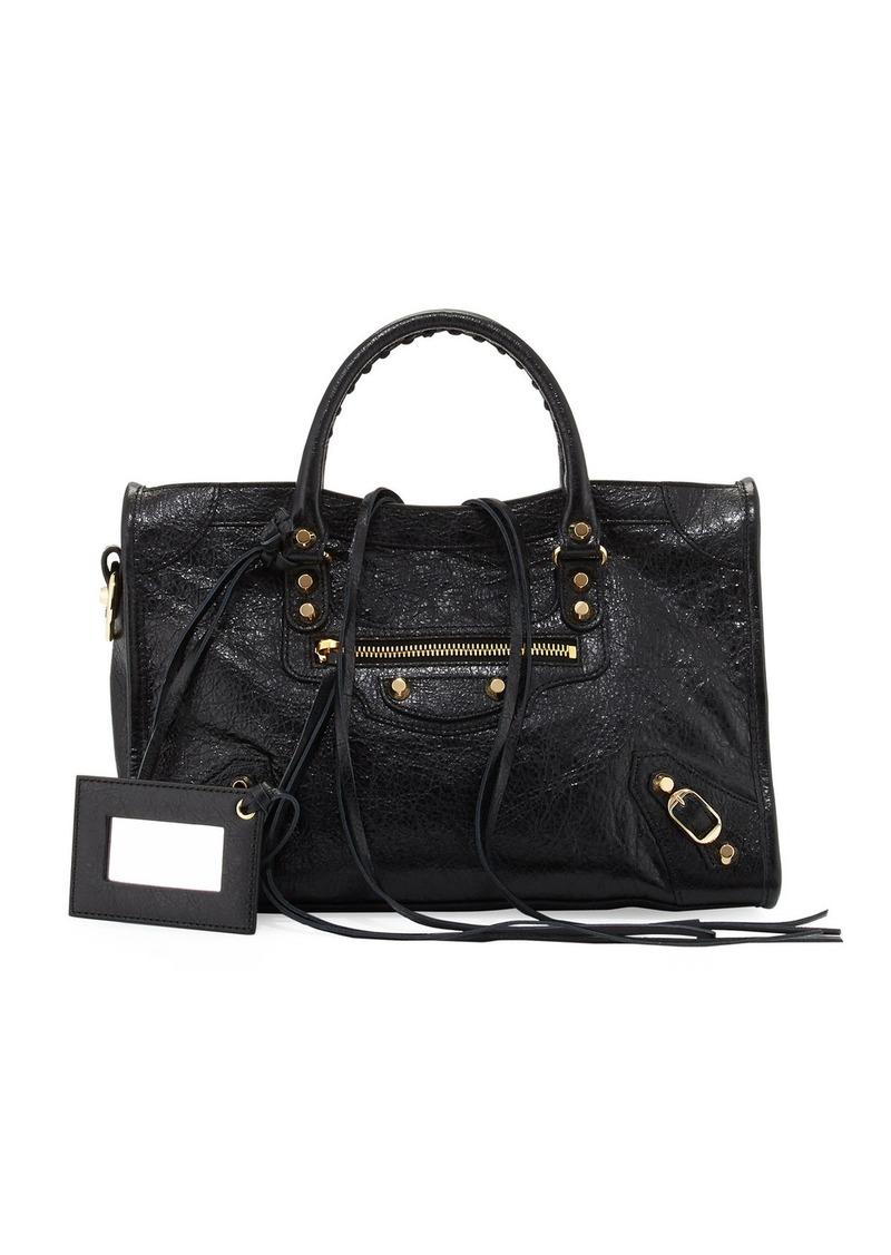 Balenciaga Classic Gold City Small Satchel Bag  Black