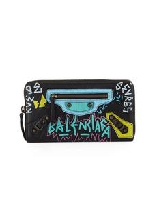 Balenciaga Classic Graffiti Continental Zip-Around Wallet